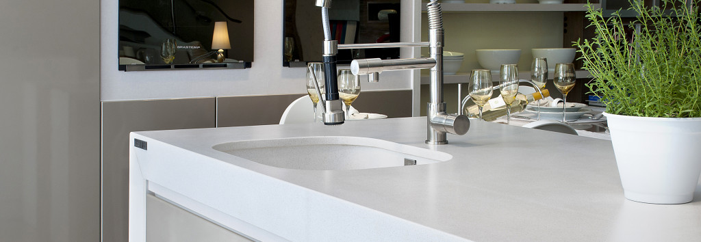 Kitchen worktop and sink White Storm